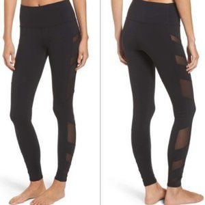 Alo Black Mesh Leggings Full Length Block